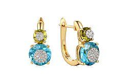 Zlaté náušnice s diamantmi a drahými kameňmi IZBR199N