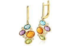 Zlaté náušnice s diamantmi a drahými kameňmi IZBR200N