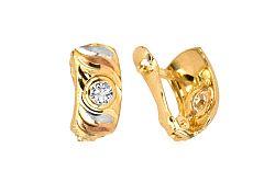 Zlaté náušnice s kamienkom viacfarebné IZ4657
