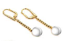 Zlaté náušnice s perlou a zirkónmi IZ2252