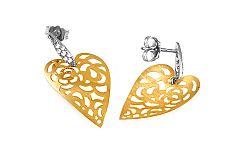 Zlaté náušnice srdcia so vzorom IZ9471