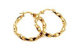 Zlaté náušnice točené kruhy s gravírom 3 cm IZ10202