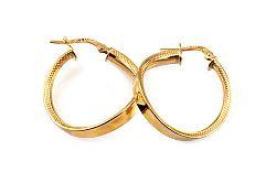 Zlaté náušnice točené krúžky s gravírom 2,4 cm IZ10315