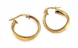 Zlaté náušnice točené krúžky s gravírom 2 cm IZ10316