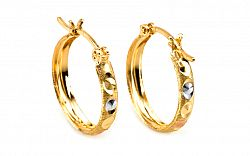 Zlaté náušnice trojfarebné kruhy 2 cm IZ5781