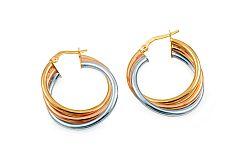 Zlaté náušnice trojfarebné krúžky IZ10287