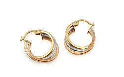Zlaté náušnice trojfarebné krúžky IZ10289