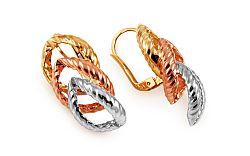 Zlaté trojfarebné náušnice Francesca IZ11171