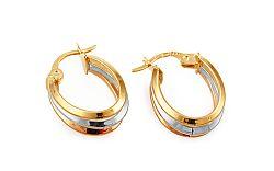 Zlaté trojfarebné oválne náušnice IZ10290