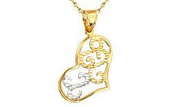 Zlatý dámsky prívesok srdce gravírovaný IZ4793