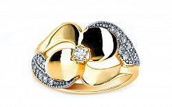 Zlatý dámsky prsteň Flower KORI163