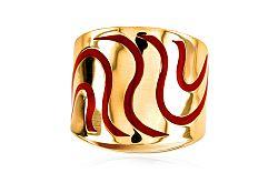 Zlatý dámsky prsteň s červenými vlnkami IZ3048R