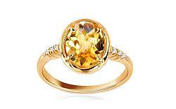 Zlatý dámsky prsteň s citrínom Brigitte IZ6213