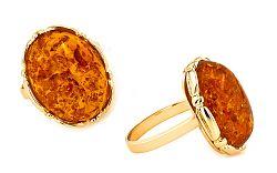 Zlatý dámsky prsteň s jantárom Lumeria 1 IZ7014