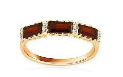 Zlatý dámsky prsteň so zirkónmi a pravými granátmi IZ5689