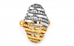 Zlatý dámsky prsteň so zirkónmi IZ2182