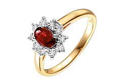 Zlatý diamantový prsteň s rubínom Loyola IZBR181R