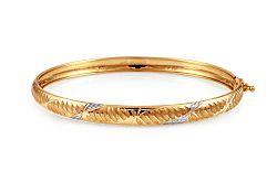Zlatý dvojfarebný obručový náramok IZ11235