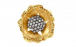 Zlatý dvojfarebný prsteň Flower 2 IZ9429