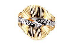 Zlatý dvojfarebný prsteň s gravírom IZ10725