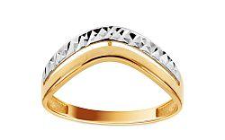 Zlatý dvojfarebný prsteň s gravírom IZ10738