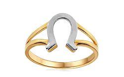 Zlatý dvojfarebný prsteň s podkovou IZ10755