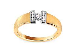 Zlatý dvojfarebný prsteň so zirkónmi CSRI1257