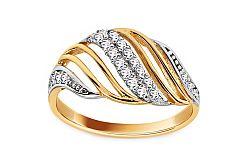 Zlatý dvojfarebný prsteň so zirkónmi IZ11366