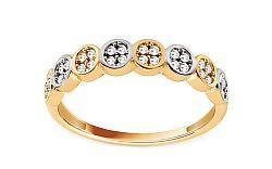 Zlatý dvojfarebný prsteň so zirkónmi IZ11404
