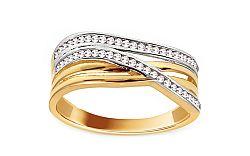 Zlatý dvojfarebný prsteň so zirkónmi IZ11409