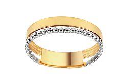 Zlatý dvojitý prsteň s guličkovou aplikáciou IZ11382