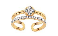 Zlatý dvojitý prsteň so zirkónmi IZ11402