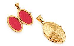 Zlatý gravírovaný medailón na fotku s geometrickým vzorom IZ11483