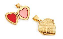 Zlatý gravírovaný medailón na fotku srdiečko IZ11476
