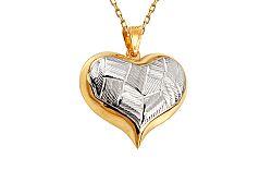 Zlatý kombinovaný prívesok srdce s gravírovaným vzorom IZ11313