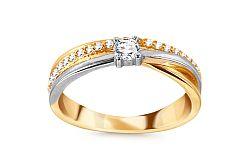 Zlatý kombinovaný prsteň so zirkónmi CSRI3022