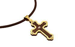 Zlatý kríž na ebenovom dreve s diamantom na koženej šnúrke IZ9592