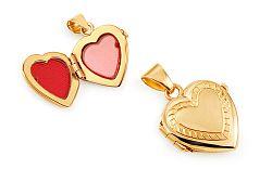 Zlatý medailón na fotku s gravírom srdiečko IZ11473