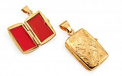 Zlatý medailón na fotku s gravírovaným kvetinovým vzorom IZ11478