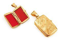 Zlatý medailón na fotku s gravírovaným kvetinovým vzorom IZ11479