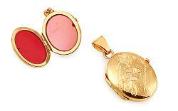 Zlatý medailón na fotku s gravírovaným kvietkom IZ11487