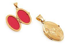 Zlatý medailón na fotku s gravírovaným kvietkom IZ11489