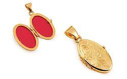 Zlatý medailón na fotku s kvetinovým gravírom IZ11484