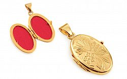 Zlatý medailón na fotku s kvetinovým gravírom IZ11485