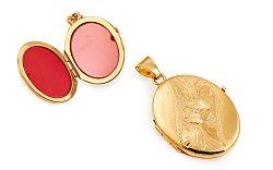 Zlatý medailón na fotku s kvetinovým gravírom IZ11486