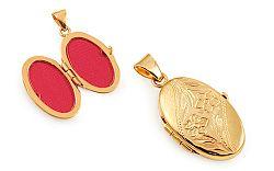 Zlatý medailón na fotku s kvetinovým gravírom IZ11516