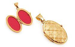 Zlatý medailón na fotku s kvetinovým vzorom IZ11492