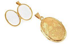 Zlatý medailón na fotku s kvietkom IZ9490