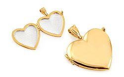 Zlatý medailón na fotku srdce IZ7943