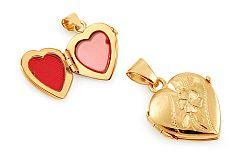 Zlatý medailón na fotku srdce s gravírovaným kvietkom IZ11475